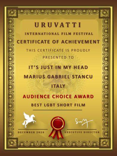 IT'S JUST IN MY HEAD: Best LGBT Short Film at the Uruvatti International Film Festival